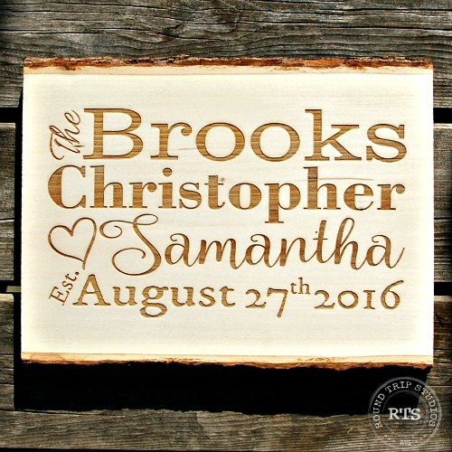 Laser Engraved Basswood Sign Wedding