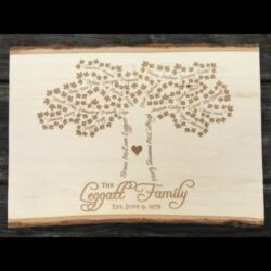 Live edge basswood sign with family tree engraved.