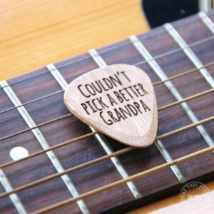 """Engraved guitar pick with """"couldn't pick a better Grandpa"""" engraved."""