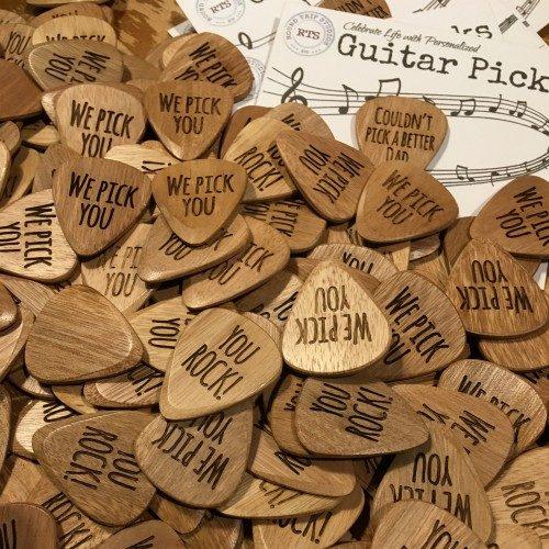 Engraved guitar pick set of three