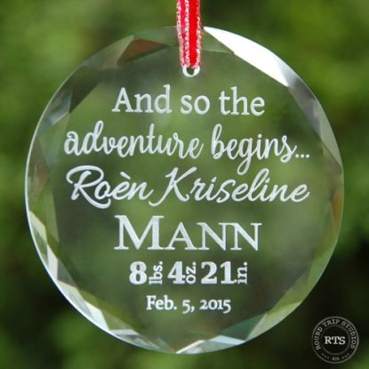Unique birth announcement crystal ornament