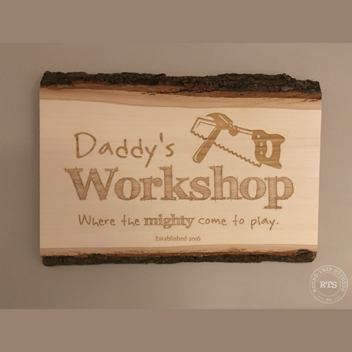 Basswood :aser Engraved Workshop Sign