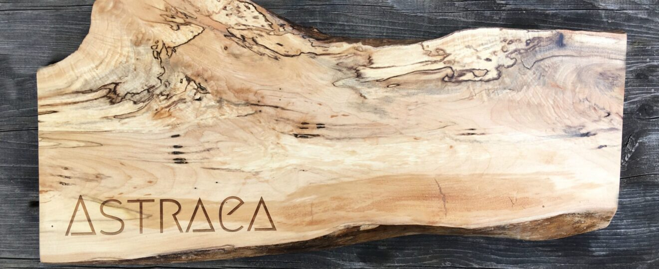 Laser engraved spalted maple live edge charcuterie board