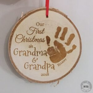 Unique Christmas gift for Grandparents. Handprint engraved on a rustic birch ornament.