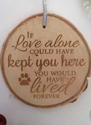 Rustic birch ornament pet memorial gift with engraving.