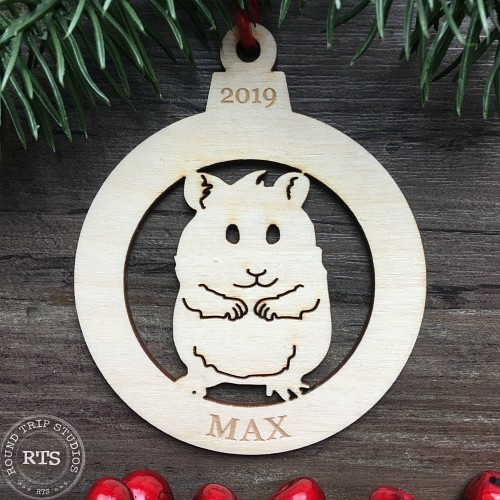 Hamster ornament with name engraved.