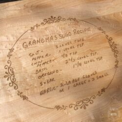 Laser engraved rectangular cutting board with recipe and border
