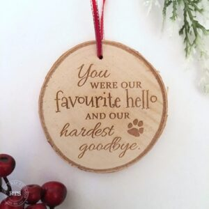 Hardest Goodbye Pet Memorial Rustic Birch Ornament