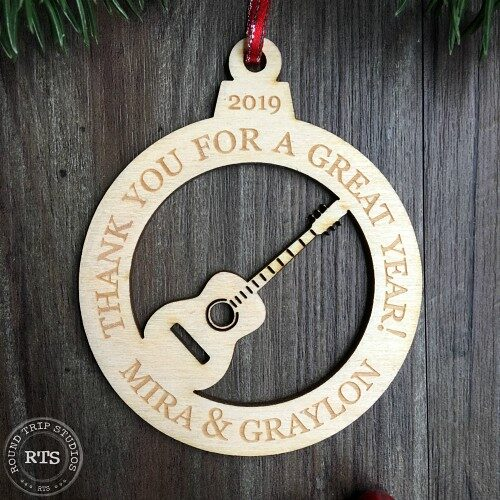 Laser cut birch ornament Guitar