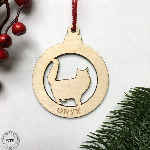 Laser Cut birch ornament Fluffy Cat with Name