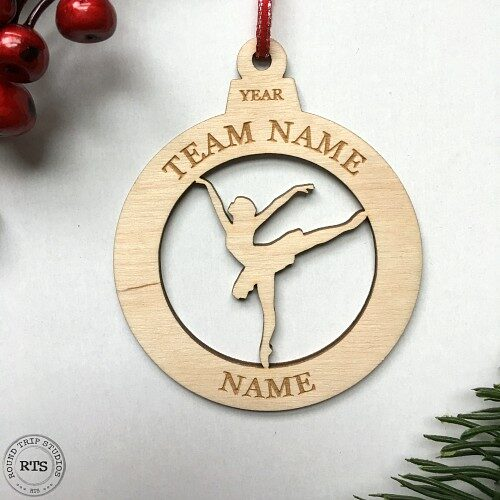 Laser Cut and Engraved birch ornament Dancer