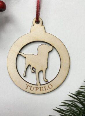 Laser Cut birch ornament Big Dog with name