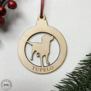 Laser Cut birch ornament Big Dog with name