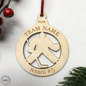 Laser Cut birch ornament Hockey Goalie
