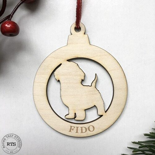 Laser Cut birch ornament Small Dog with name