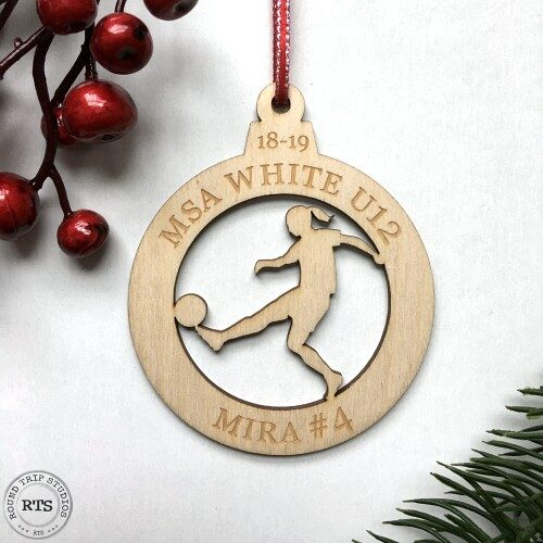 Laser Cut and engraved birch ornament Soccer Girl