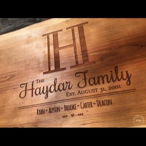 Laser Engraved Cherry Live Edge Charcuterie Board Initial Design