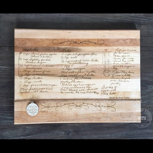 Custom cutting board with handwritten recipe engraved.