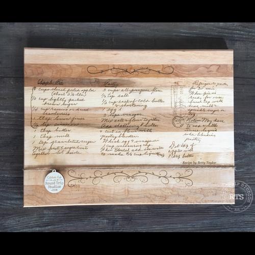 Custom cutting board with handwritten recipe engraved.