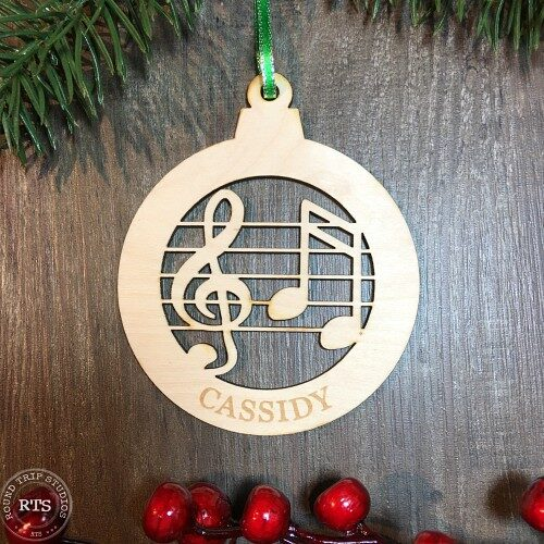 Birch Lasercut Ornament Music Notes