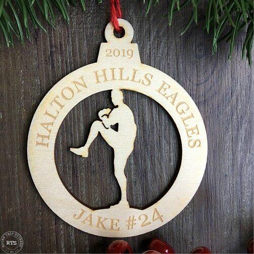 Birch Lasercut Ornament Baseball Pitcher