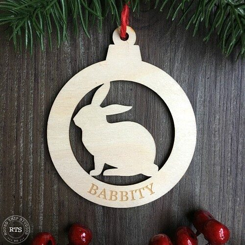 Rabbit ornament with the silhouette cut from birch wood.