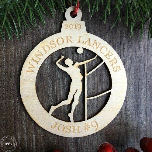 Birch Lasercut Ornament Volleyball