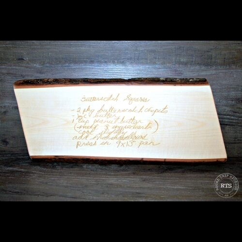Custom Laser Engraved Live Edge Maple Charcuterie Board with recipe