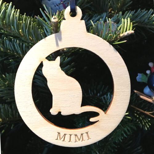 Laser Cut birch ornament Cat with name