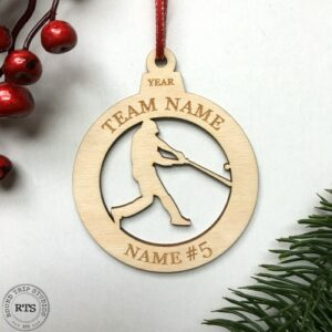 Laser Cut birch ornament Baseball