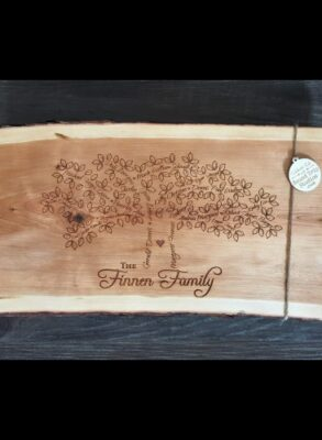 Large Cheese Board engraved with a custom family tree.
