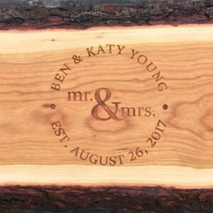 Live edge charcuterie board with Mr. and Mrs. engraved.