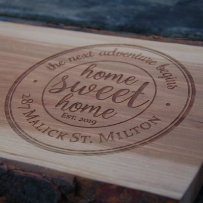 Antipasti board with home sweet home and the address engraved.