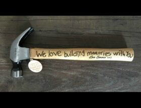 Personalized hammers with a child's handwriting engraved. Shows a mix of handwriting and computer font.