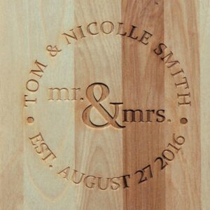 personalized cutting board with mr and mrs design engraved.