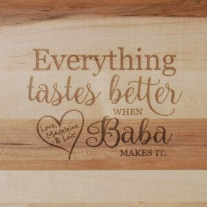 Personalized cutting board with saying for Grandma.