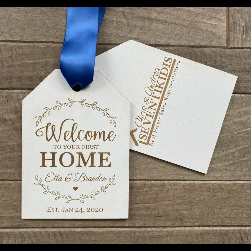 Engraved realtor door tags personalized with you clients name.