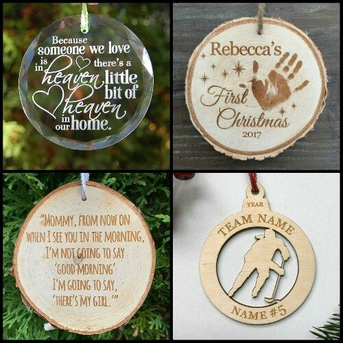 Choose from crystal, rustic live edge birch (RBO's), or laser cut Christmas ornaments.