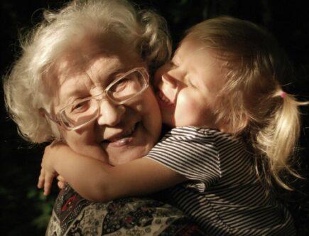 Grandma getting a hug.