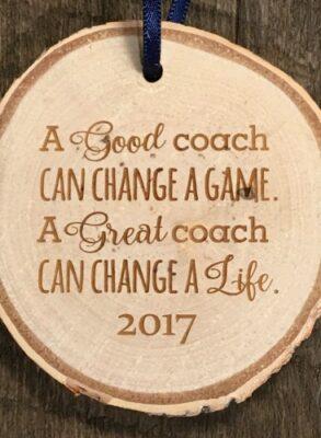 Coaches gift rustic birch ornament