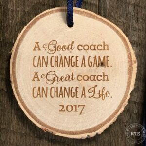 Coaches gift rustic birch ornament