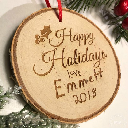 Rustic birch ornament personalized with handwriting from your child.