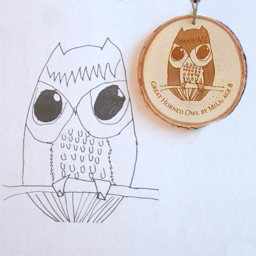 Unique Christmas ornament with a child's drawing engraved.
