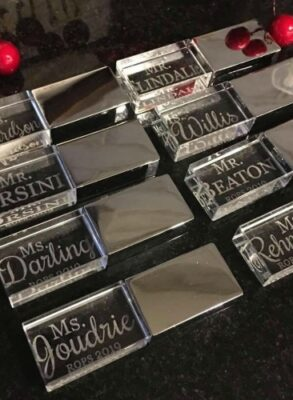 Personalized USB with teachers names engraved.