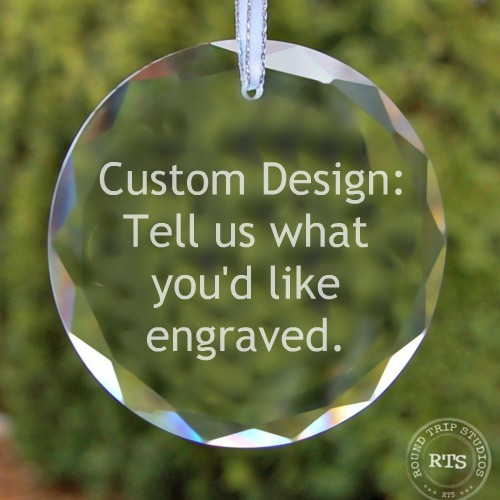 Tell us what you'd like engraved on this custom crystal ornament.