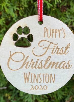 Birch Ply Ornament with cut out paw print.