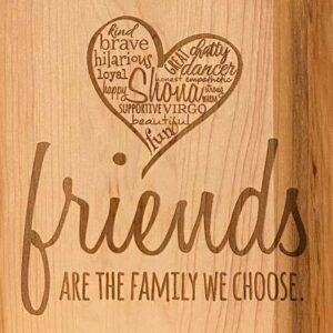 Close up of friends design showing personalization of the heart.