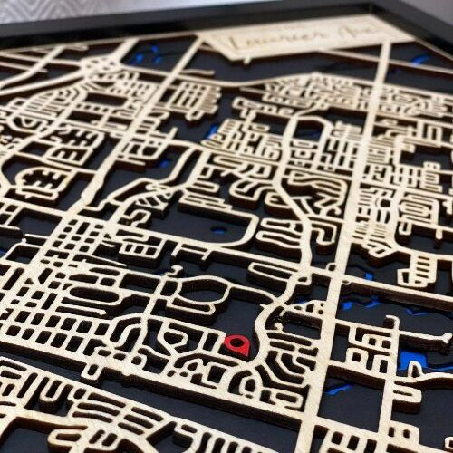 Close up of personalized map of Milton showing address indicator.