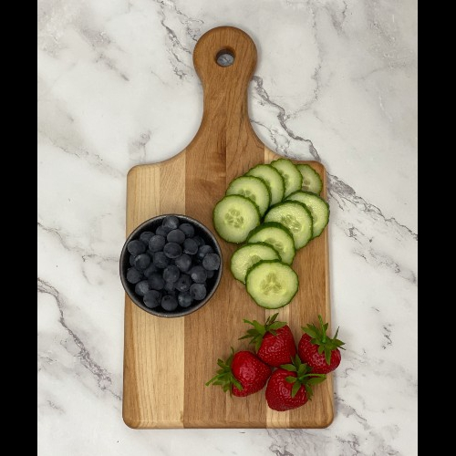 Picture of paddle style cutting board to show shape of board.