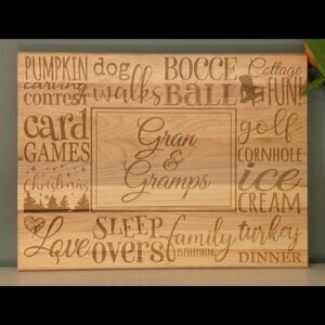 Cutting board engraved with memories of Grandparents.